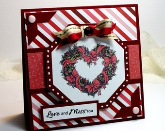 "Love and Miss You Card - Handmade Card Greeting Card 5.25 x 5.25"" Thinking of You PSX Heart Flowers Red Pink Stationery 3D Card OOAK"