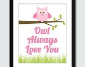 Owl Always Love You Wall Art. Children's Wall Print. 8x10 Custom Nursery Poster