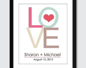 Wedding Gift. Love Wall Art. Wedding Wall Art Personalized with Names and Date. 8x10, 5x7, 4x6 Anniversary Engagement Custom Wall Poster