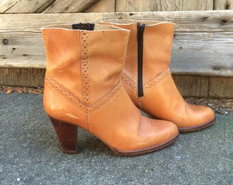 Leather Ankle Boots Caramel Brown Thom Mcan High Heeled Size 7, 7,5 US