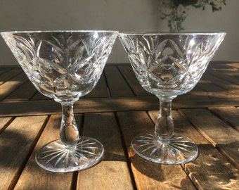 One lovely vintage pair of cut crystal wine glasses