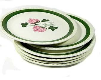 Six Blue Ridge Pottery Sweet Clover Dinner Plates Southern Potteries