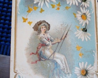 Pretty Vintage Edwardian Valentine Woman on Swing Daisies Cupids Gift
