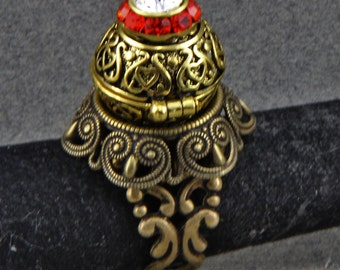 Brass Locket Ring Apothecary Ring Jeweled Magnetic Ball Ring Adjustable size