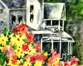 Watercolor on Gessoed Paper of VIctorian House - Original Painting Martha Kisling