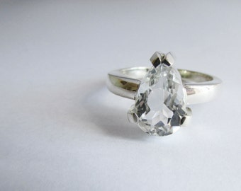 engagement ring wedding ring pear shape diamond ring sterling silver
