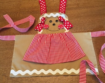 Gingerbread Girl Christmas Holiday Full Apron - girls 3 - 8