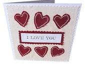 I love you applique heart card