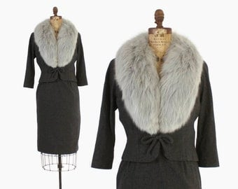 Vintage 50s SUIT / 1950s Tailored Gray Wool FOX Fur Collar Blazer Jacket & Pencil Skirt Set S