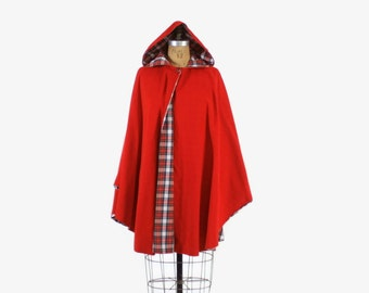 Vintage 80s RED CAPE / 1980s Corduroy Cloak Coat with plaid Lined Hood OSFM
