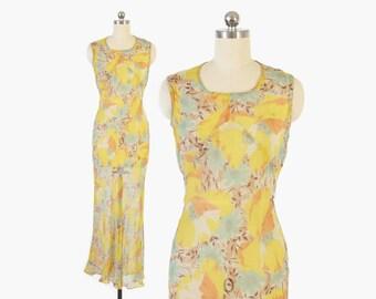 Vintage 30s DRESS / 1930s Sheer Silk Golden FLORAL Bias Cut Garden Party Gown XS