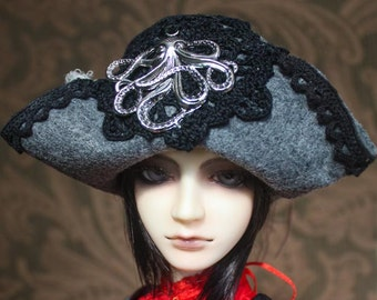 Grey Felt Pirate Hat With Cthulhu