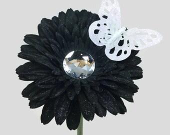 VW Beetle Flower - Black Diamond Bling Daisy