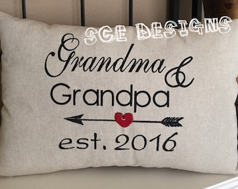 Grandparents Announcement Pillow-grandparents reveal gift- embroidery.