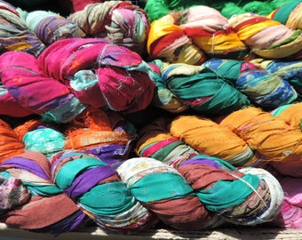 Pure Silk Chiffon Ribbon  Multi Colored With Patterns 75 To 80 Yards Some With Jewels It Is Very Soft Soft