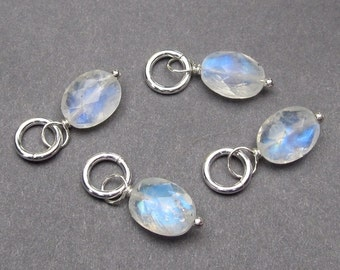 Rainbow Moonstone Faceted Oval Gemstone Sterling Silver Wire Wrapped Dangle Pendant with Sterling Silver Jump Ring Stones 91