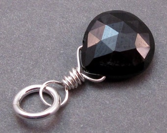Black Onyx Pendant, Sterling Silver Wire Wrapped Pendant, Necklace Charm, Bracelet Charm, Interchangeable Pendant, Stones 1