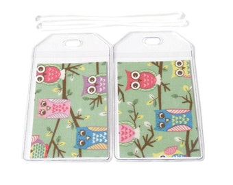 SALE Luggage Tags Set of 2 Owls on a Branch Mint