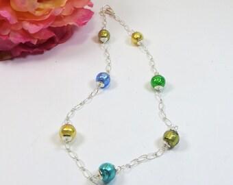 Green Blue Gold Murano Glass Necklace, Venetian Murano Gold/Silver Foil Emerald Verde Sapphire Glass Necklace w 925 Sterling Chain Necklace