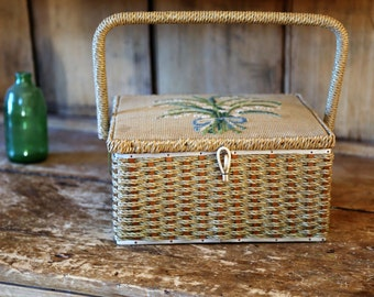 Vintage Dritz Sewing Basket / Wicker with Embroidered Top and Handle / Avocado Green Satin Interior Lining