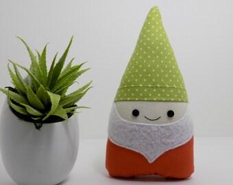 Gnome mini plush in green and orange, garden gnome stuffed toy, gnome decoration, garden gnome, woodland decor