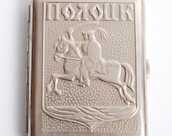 Vintage metal cigarette case, holder from USSR, Polock.