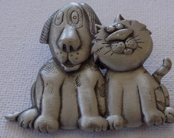 Vintage brooch, JJ brooch, silly dog and cat brooch, pewter brooch, signed brooch, vintage jewelry, JJ jewelry