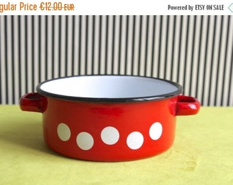 Summersale Vintage Red Enamel White Polka Dots Small Pot