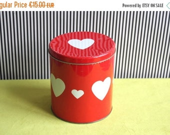 SALE Vintage Red Tin Canister with Heart Pattern