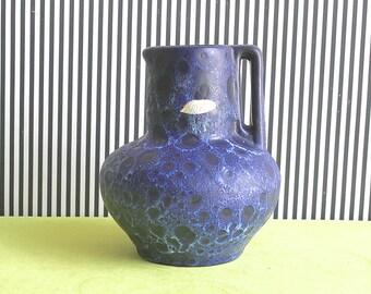 Vintage West German Pottery Handled Fat Lava Blue Vase by Kreutz Keramik