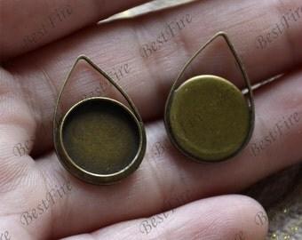 6 pcs Antique bronze drop pendant round pendant tray (Cabochon size 12mm),bezel charm findings,lacework findings,cabochon blank finding