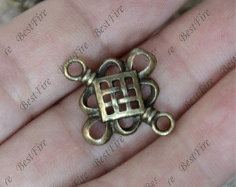 20 PCS Of 19x22MM Celtic Knot Connector Charms Antique Bronze Tone 2 Sided ,pendant beads,Double on Branch Connectors,jewelry findings