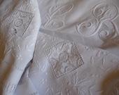RESERVED ON HOLD  Antique Linen Sheet fil de lin trousseau sheet dowry sheet white linen sheet
