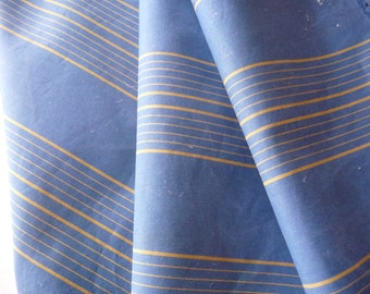 ANTIQUE FRENCH TICKING fabric original feather mattress tickingblue/yellow stripe.