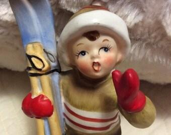20% SALE Vintage Lefton February Ski Boy Figurine Japan 1960s #2300 Wonderful Condition