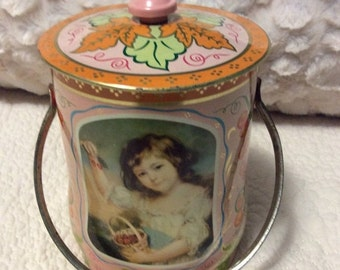 AUTUMN SALE Vintage Fancy Pink Candy Tin Container made by House of Confectionery in London England
