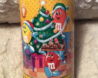 Vintage Peanut M and M Christmas Tin Container Box Candy Colorful Happy Mars Americana Advertising