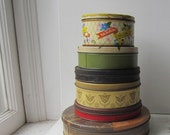 ON SALE Vintage Tin Collection - 6 Colorful Round Tins for Storage or Decor