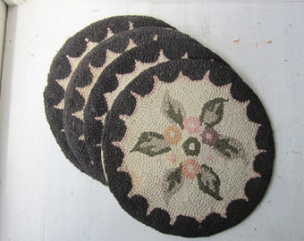 "Set of 4 Vintage Hooked Chair Pads 15"" - Black Scalloped Border with Floral Design  - Cotton - Made in Japan"