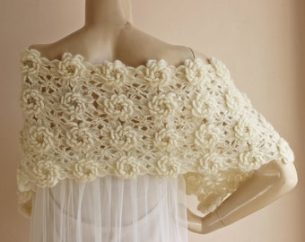 Ivory  Bridal Cape-Lace Crochet Cape with Flowers-Bridal Wedding Cape-Lace Wedding Cape
