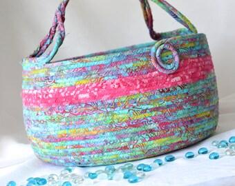 Knitting Yarn Basket, Handmade Batik Fiber Basket, Ocean Mist Batik Tote, Aqua Gift Basket, Turquoise Batik Moses Basket