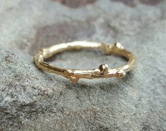 Wedding Band Women Womens Wedding Bands Gold Twig Band 14K Band 14K Twig Wedding Band Gold Band Twig Ring 14K Gold Band Womens Gift for Her