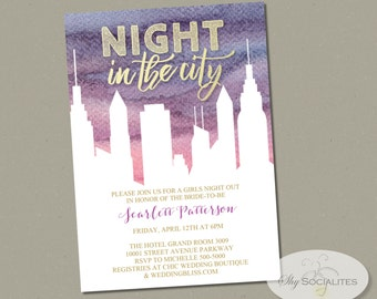 Watercolor Night In the City Invitation | Cityscape, Girls Night Out, Bridal Shower, Bachelorette Party,  |  Instant Download
