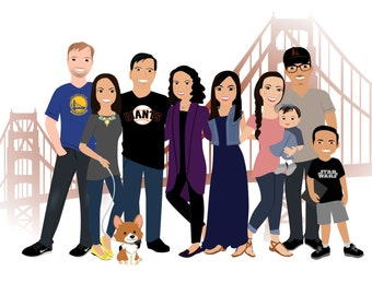Large Family Portrait | Company Portait, Staff Pictures, Staff Drawing, Custom Illustrated, Drawing, Virtual Character, Cartoon, Caricature