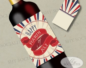 4th of July Printable Wine Label   Hostess Gift, Fourth of July, Wine Bottle Label   DIY Print at Home Digital File