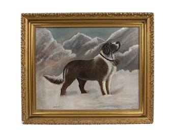 1915 St. Bernard Gouache Painting in Antique Frame