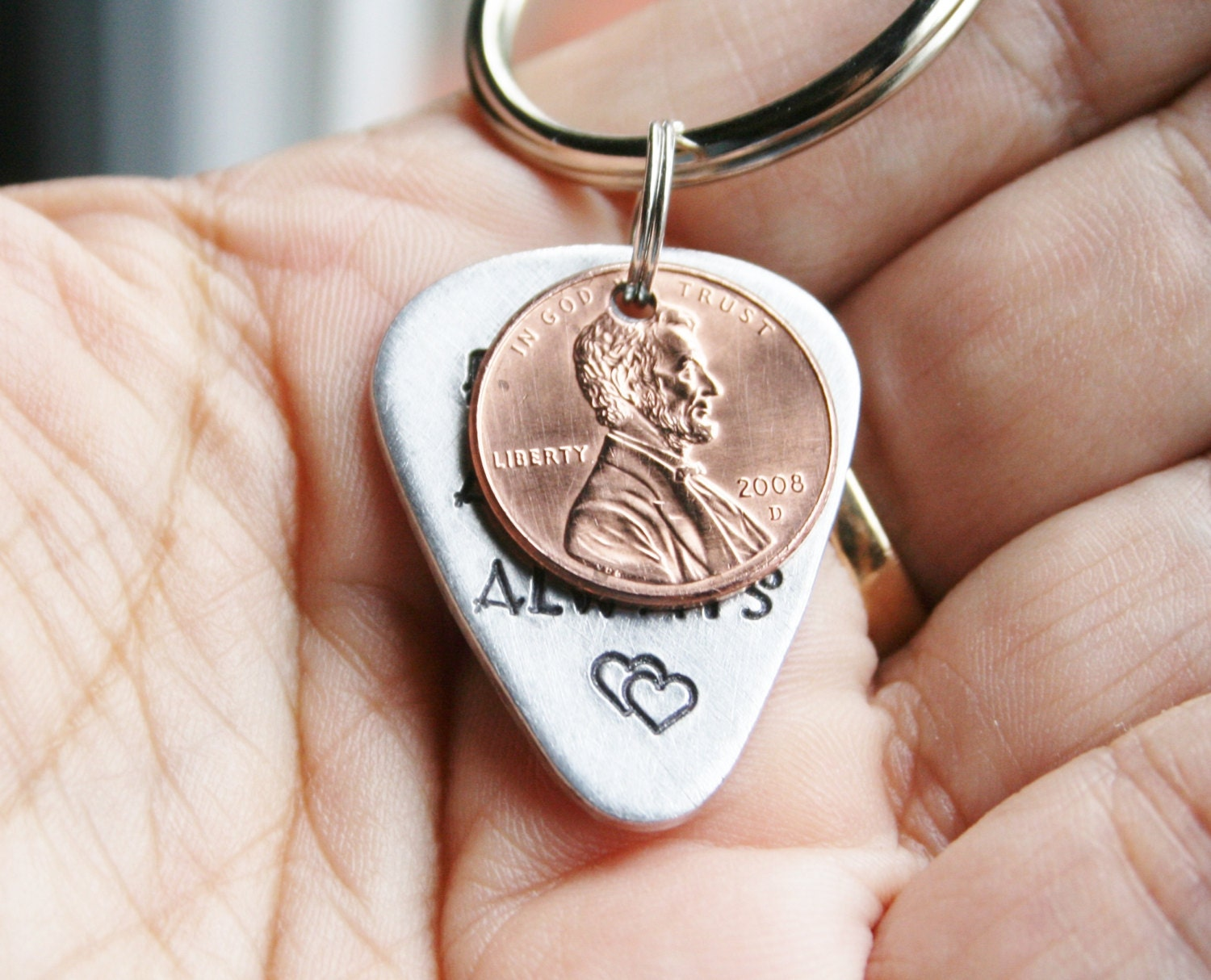 Key chain guitar pick penny design your own hand stamped for Create your own penny