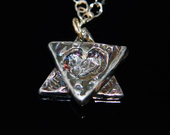 Girl's Double Layered Cut-Out Heart Fine Silver Star of David Necklace