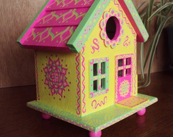 Whimsical Yellow Birdhouse with Pink Roof/Cottage Style/ Floral Designs/ Doodles and Dots/Decorative BIrdhouse/Tabletop Decor/Shelf Decor
