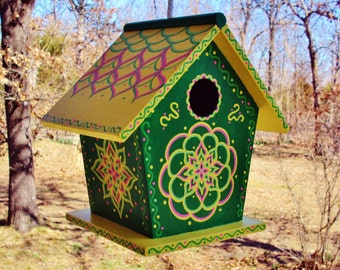 Whimsical Green Birdhouse Handpainted with Yellow Roof/Floral Designs/ Lots of Dots/Accent Colors Light Green and Light Pink/Rope Attached